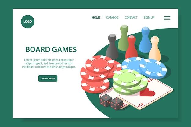 Page de destination du site web de jeux de société