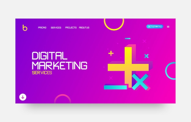 Page de destination du site web de marketing numérique