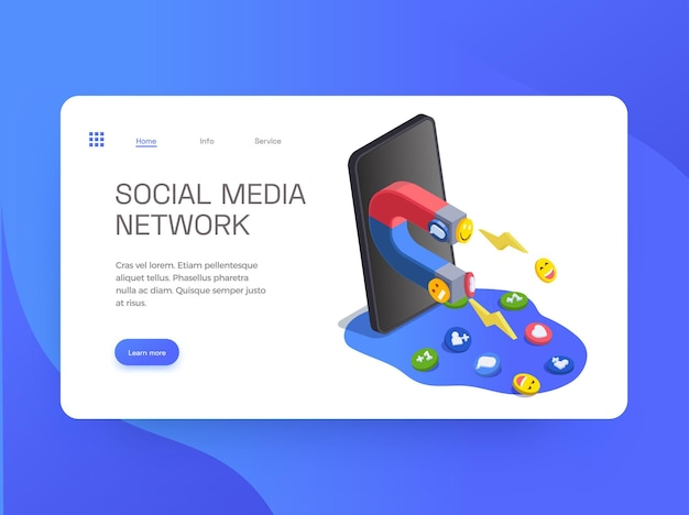 Page de destination du site web de médias sociaux avec des images de l'aimant du smartphone et des liens
