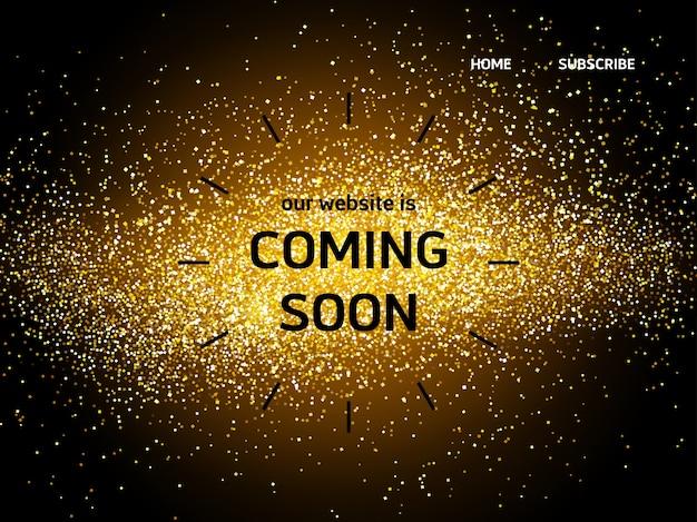 Page de destination du site web avec les mots à venir