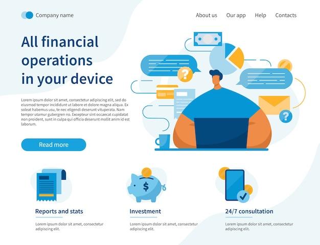Page de destination du site web des opérations financières