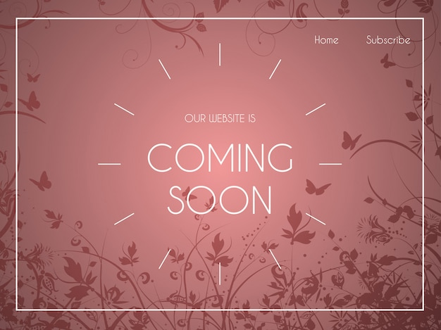 Page de destination du site web avec ornements floraux