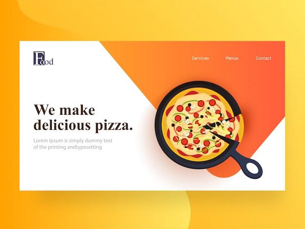 Page de destination du site web avec pizzas délicieuses présentées sur le plateau du restaurant.