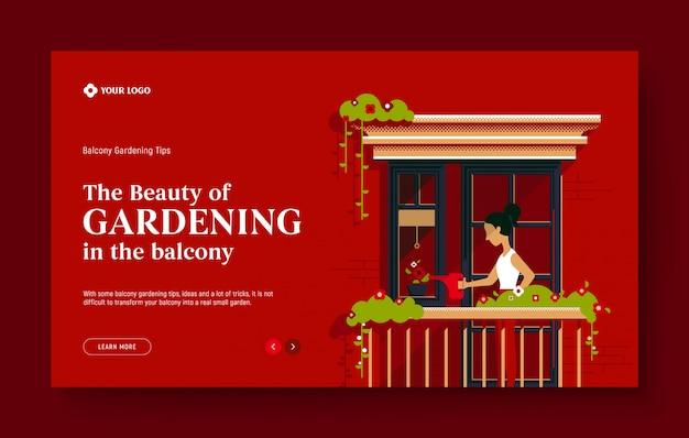 Page de destination du site web pour le jardinage, la nature, la beauté, l'état réel. jeune fille arrosant les plantes, petit jardin sur le balcon, concept d'illustration design plat moderne pour site web.