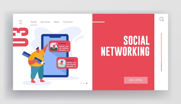 Page de destination du site web de réseautage social.