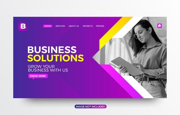 Page de destination du site web de solutions commerciales