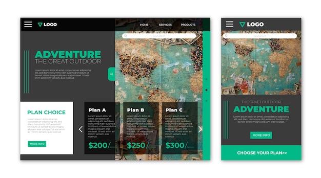 Page de destination du site web de voyage