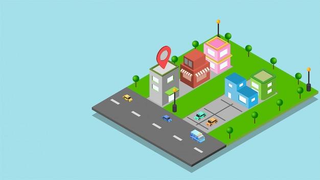 Page de destination du site web avec vue isométrique de l'immobilier.