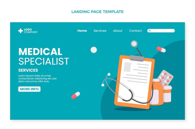 Page de destination du spécialiste médical design plat