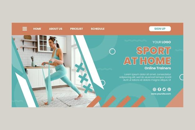 Page de destination du sport à la maison