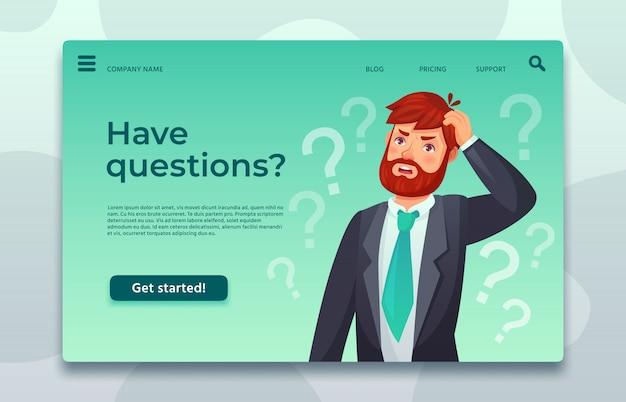 Page de destination du support en ligne. ayez une page web de questions, un homme posant une question et aidez à décider difficilement du modèle