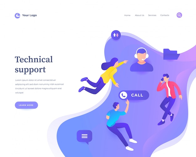Page de destination du support technique