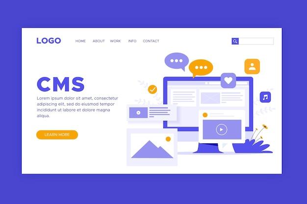 Page de destination du système de gestion de contenu plat