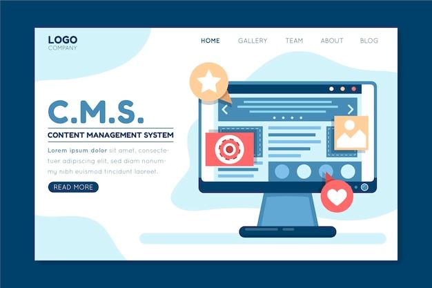 Page de destination du système de gestion de contenu