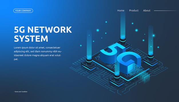 Page de destination du système de réseau 5g isométrique 3d