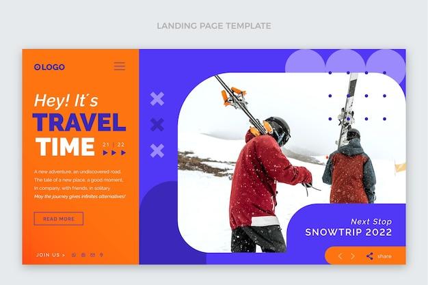 Page de destination du temps de voyage au design plat