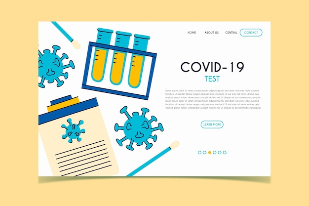 Page de destination du test covid-19