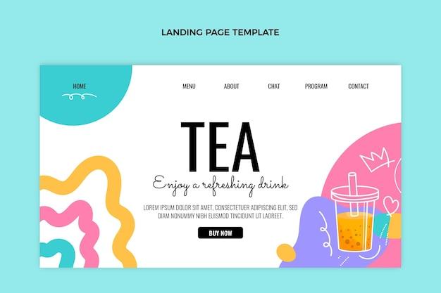 Page de destination du thé à bulles dessiné à la main