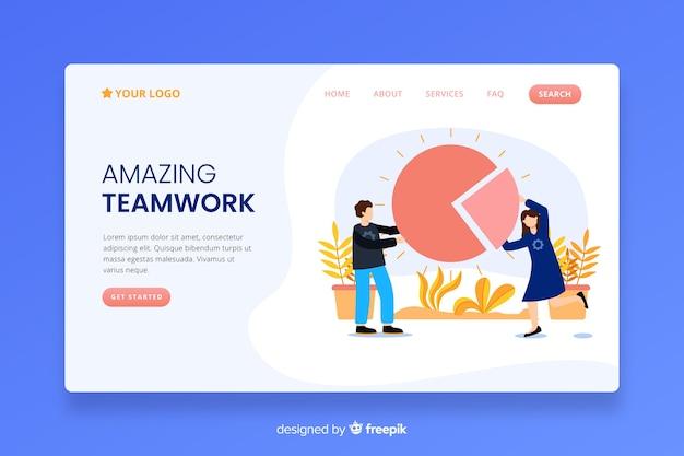 Page de destination du travail d'équipe avec contenu