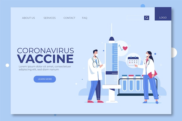 Page de destination du vaccin contre le coronavirus dessiné à la main