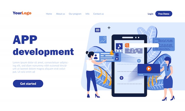 Page de destination du vecteur de développement d'application mobile avec en-tête