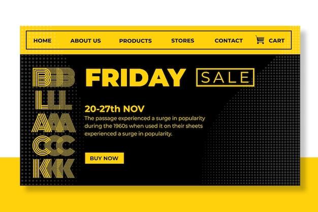 Page de destination du vendredi noir