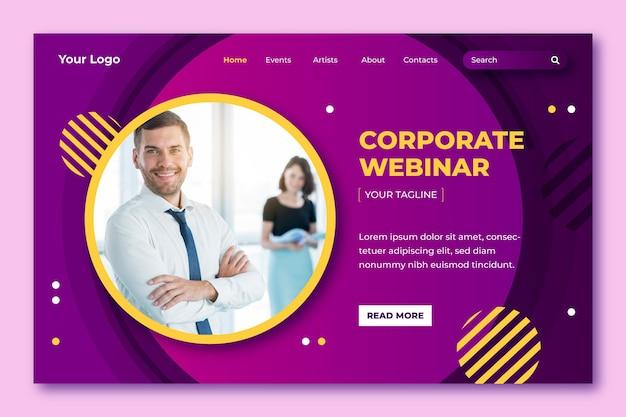 Page de destination du webinaire d'entreprise