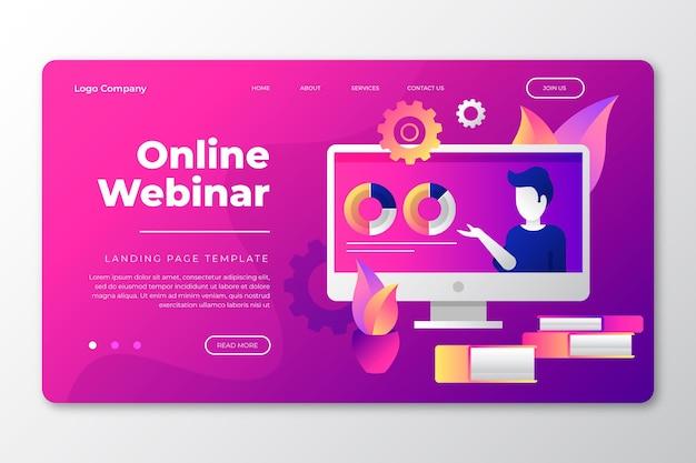 Page de destination du webinaire en ligne