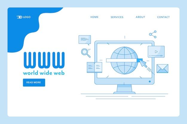 Page de destination du world wide web