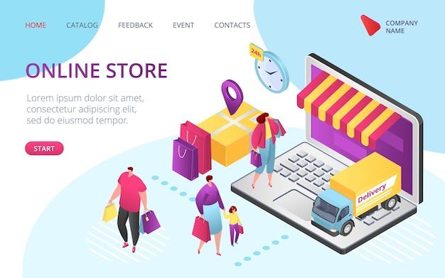 Page de destination e-commerce de la boutique en ligne,. vente, commande client, vente de package isométrique boutique en ligne, paiement à l'écran, achat maintenant à prix réduit. boutique en ligne de l'application pour smartphone.