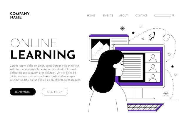 Page de destination e-learning linéaire plate