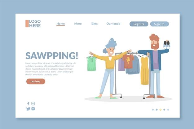 Page de destination de l'échange de vêtements design plat