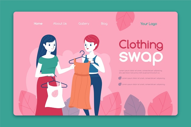 Page de destination de l'échange de vêtements dessinés à la main