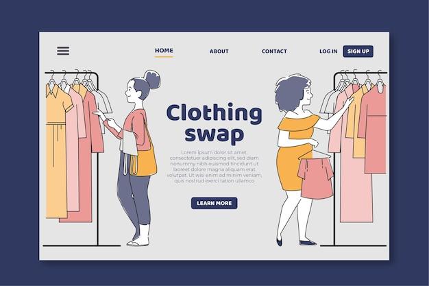 Page de destination de l'échange de vêtements plats