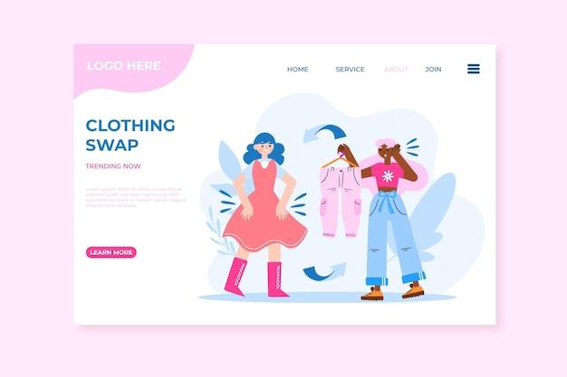 Page de destination échangeant des vêtements dessinés à la main