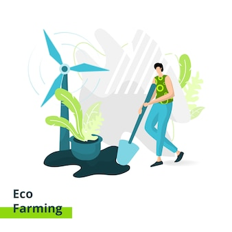 Page de destination d'eco farming, le concept d'un homme portant une pelle pour l'agriculture