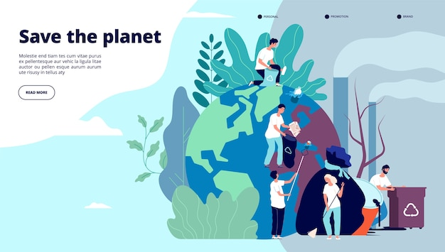 Page de destination de l'écologie. caractères nettoyant la surface de la terre des déchets, recyclage de la protection de l'environnement et écologie, conception de vecteur de site web
