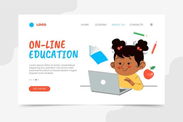 Page de destination de l'éducation en ligne dessinée à la main