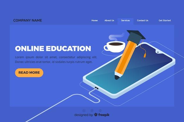 Page de destination de l'éducation en ligne isométrique