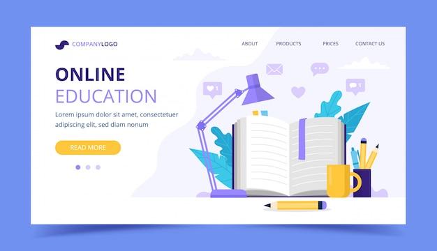 Page de destination de l'éducation en ligne avec livre ouvert et une lampe.