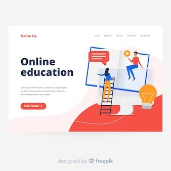 Page de destination de l'éducation en ligne moderne