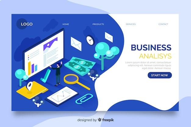 Page de destination d'entreprise d'analyse commerciale