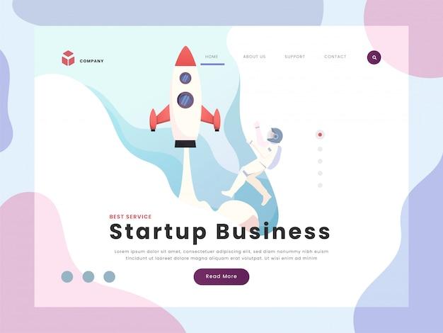Page de destination d'une entreprise en démarrage