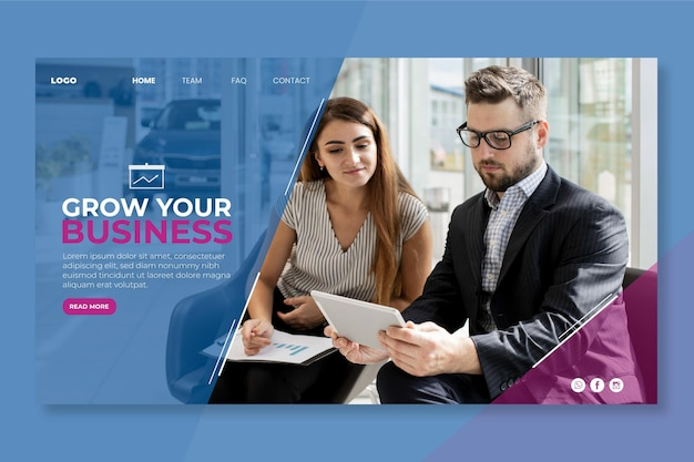 Page de destination de l'entreprise de marketing