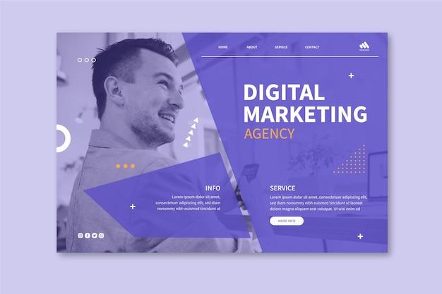 Page de destination de l'entreprise de marketing
