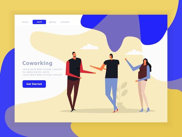 Page de destination de l'équipe créative de coworking