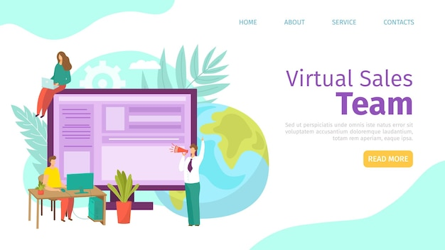 Page de destination de l'équipe de vente virtuelle