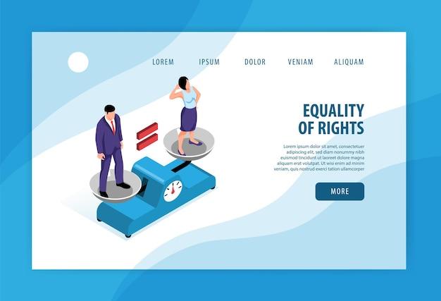 Page de destination de l'équité isométrique des droits