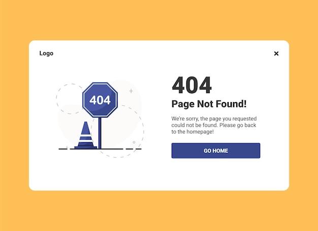Page de destination d'erreur 404 avec une signalisation routière au design plat