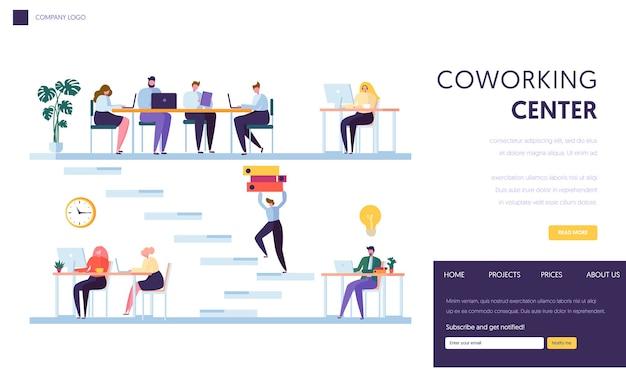 Page de destination de l'espace de bureau de coworking